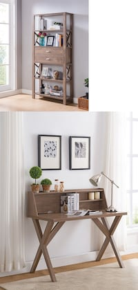 Bookcase and Desk, Hazelnut 2263 mi