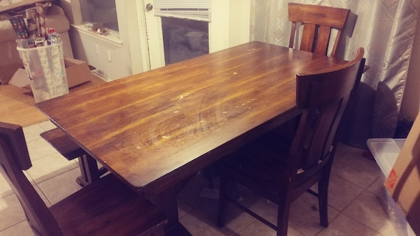 Fine Large Solid Wood Dining Table 3 Chairs And Bench Squirreltailoven Fun Painted Chair Ideas Images Squirreltailovenorg