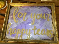 "Vintage framed "" for your happy tears"" sign with stand wedding  Tampa, 33611"