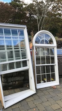 two clear glass windows with white wooden frame Stafford, 08050