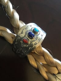 Sterling Silver Hair clasp - Ponytail holder clip / Albuquerque  western style with gemstones 24 mi