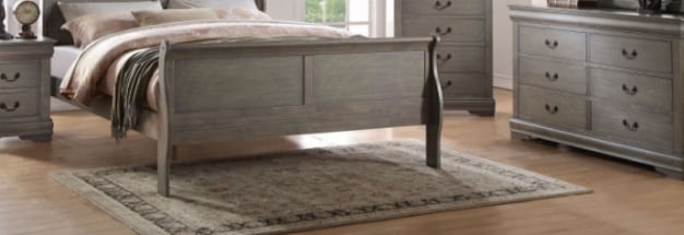 Antique Grey King Size Sleigh Bed Set 4-Piece
