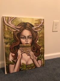 Original Deer Girl Painting