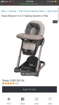 Almost new graco blossom high chair with booster 575 km