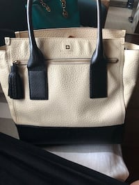 White and black leather tote bag Anchorage, 99501