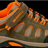 MERRELL Olive Orange Velcro Strap Hiking Shoes Washington, 20011