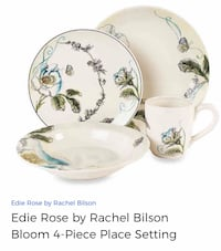 4-pc Place Setting Edie Rose Bloom Collection w/ Matching Spoon Rest