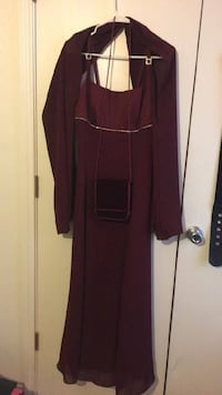 Purple Gown with scarf with purse/mirror