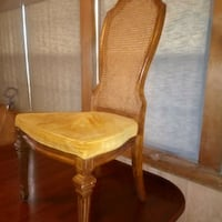 1940 solid wood table and 3 Italian neoclassical caneback chairs Sherwood