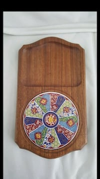 Vintage 70s Wood + Floral Ceramic Tile Serving Tray