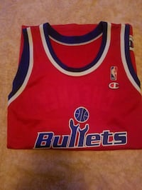 red and blue Champion NBA Bullets jersey tank top