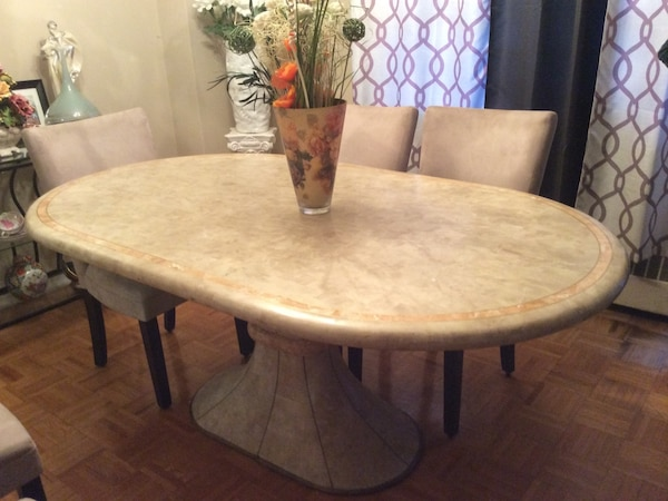 Awesome Oval Gray And Beige Marble Dining Table Chairs Not Included Download Free Architecture Designs Boapuretrmadebymaigaardcom