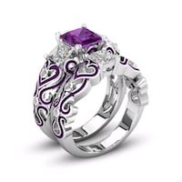 silver-colored purple gemstone ring set Torrance, CA, USA, 90501