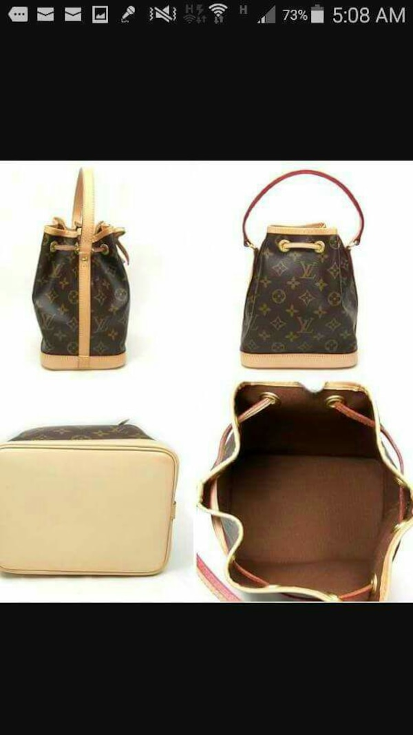 Brown And White Louis Vuitton Leather Handbag
