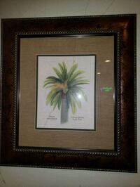 brown wooden framed painting of green and purple flower Laurel, 20723