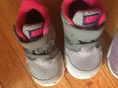 Children's size 6 gray-and-pink Nike shoes