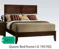 brown wooden bed frame with white mattress La Mirada