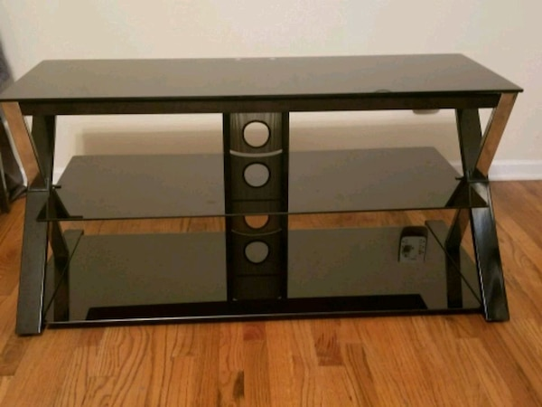 Used Black Glass And Metal Tv Stand For Sale In Atlanta Letgo