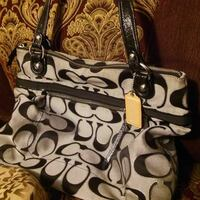 monogrammed black and brown Coach tote bag Chaparral, 88081