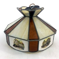 Currier & Ives Ceiling Light Fixture Complete Vintage Stained Glass Coach House Port Colborne
