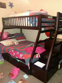 brown wooden bunk bed frame Humble, 77346