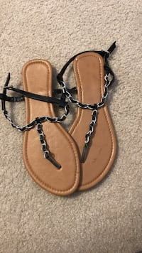pair of brown-and-black leather thong sandals West Lafayette, 47906