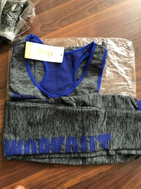 Blue and grey razor back top and pants Edmonton, T5H 3E9