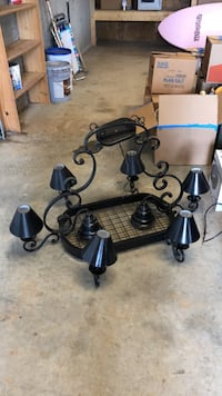 Black metal framed uplight chandelier and pot holder.  Perfect addition to your country kitchen. Dahlonega, 30533