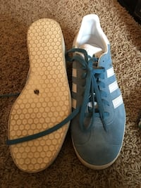 pair of gray-and-white Adidas sneakers Downers Grove