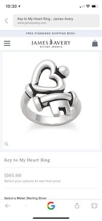 silver-colored James Avery key to my heart ring screenshot