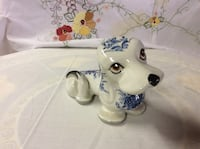Ceramic White and Blue Dog.  Made in Italy Fallston, 21047
