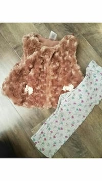 brown and beige fuzzy vest; white, pink, and green pants