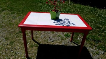 Red Kitchen Tile Top Table