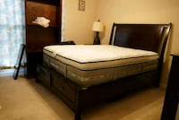 brown wooden bed frame with white mattress Sterling, 20164