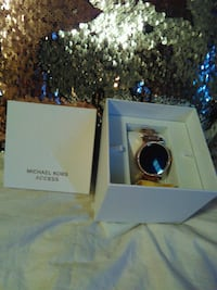 round gold analog watch with link bracelet in box Roebuck, 29376