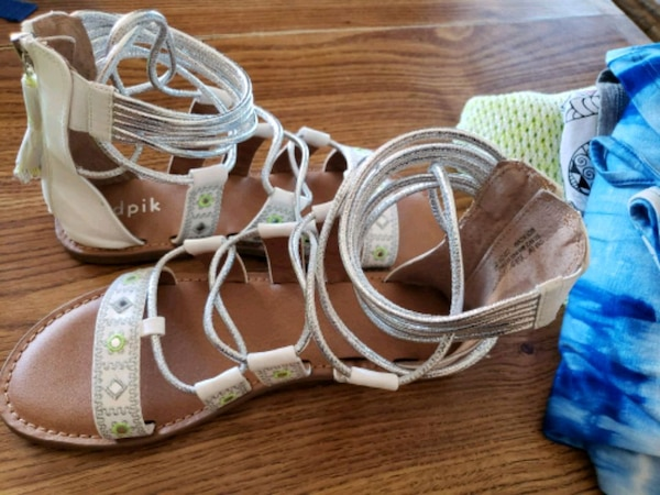 576056f89 Used white-and-brown leather sandals for sale in Frisco - letgo