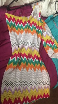 yellow, red, white, teal, and orange chevron one shoulder long-sleeve dress Jacksonville, 28540