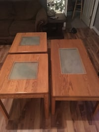 brown wooden side tables with center table