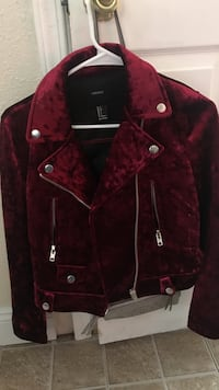 red and black button-up jacket