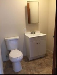 white wooden vanity sink with mirror MOUNTAINVIEW