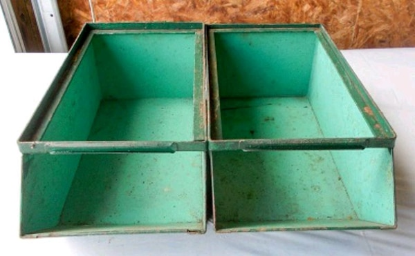Pair of Vintage Heavy Metal Stackable Storage Bins