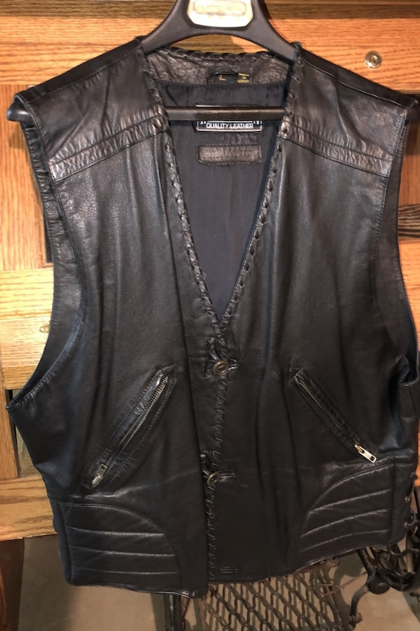 Harley Davidson Sz L Leather Vest 0