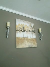 Wall decor art and candle sconces  Broussard