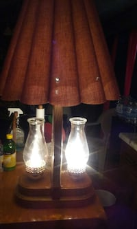 clear glass oil lamp; brown base with brown shade table lamp
