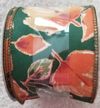 "Ribbon: HARVEST, 2.5"" X 9 FT. GLITTERY COPPER EDGED LEAVES WIRED NEW"
