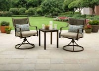 two brown wooden framed gray padded armchairs Houston, 77042