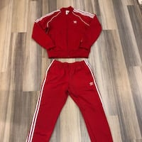 Adidas red track suit null