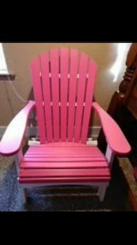 red and white wooden armchair