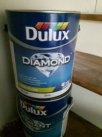 Fossil grey Dulux Diamond paint cans