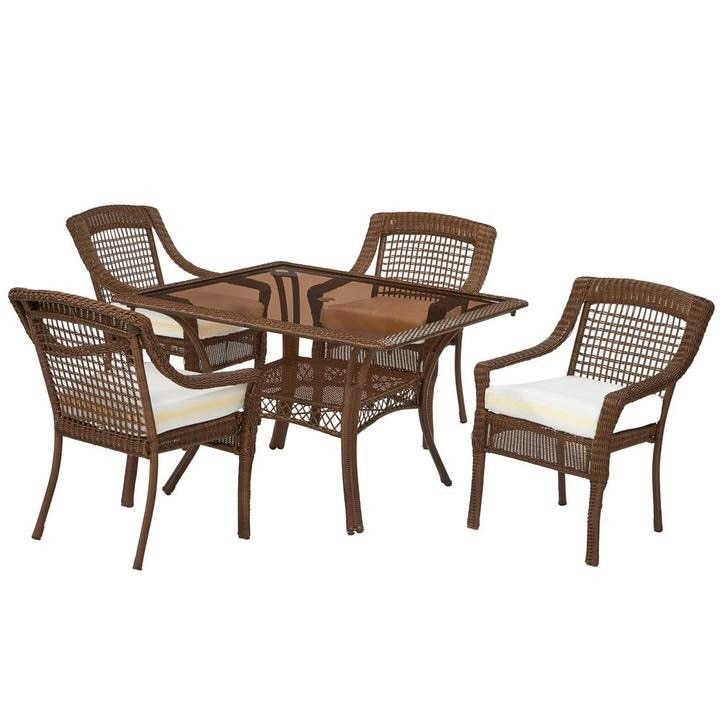 begagnad hampton bay spring haven brown 5 piece all weather wicker rh se letgo com